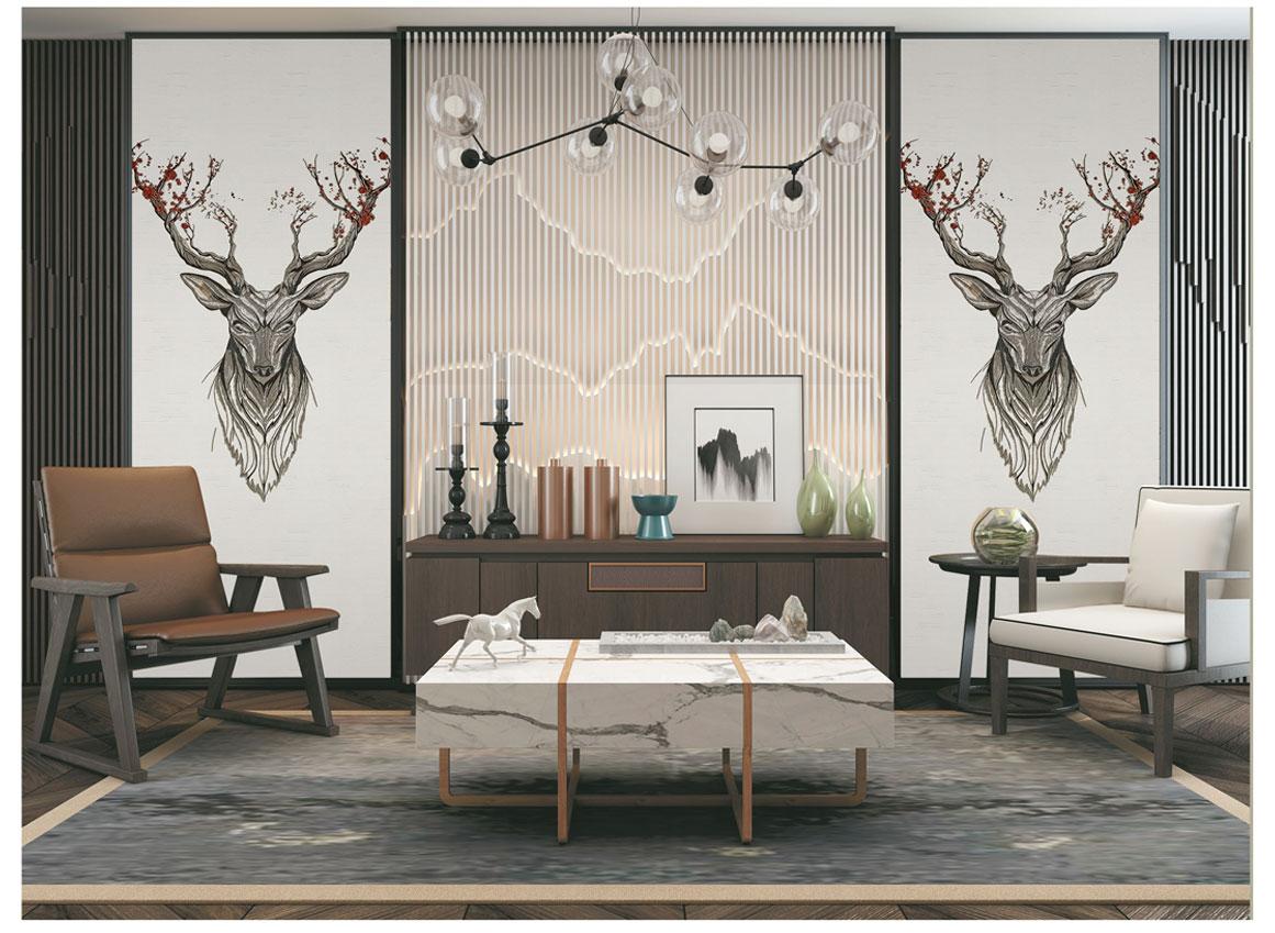 刺绣背景墙——梅花鹿放